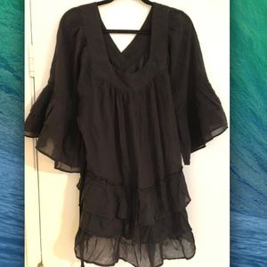 Free People Gauze Bell Sleeve Black Dress Size S